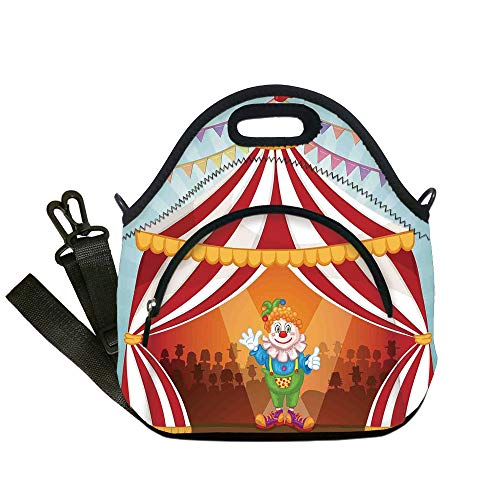 Insulated Lunch Bag,Neoprene Lunch Tote Bags,Circus Decor,Cartoon Clown