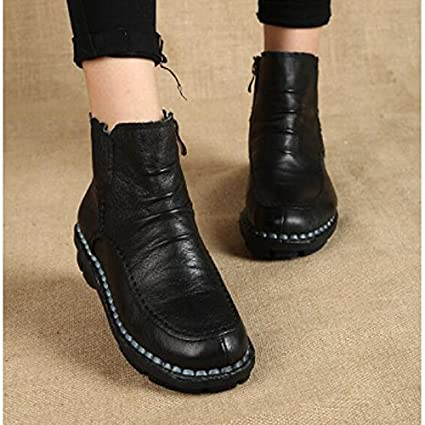 f3798f57afb ZHZNVX HSXZ Women's Shoes Nappa Leather Winter Fall Comfort Boots Flat  Round Toe Booties/Ankle