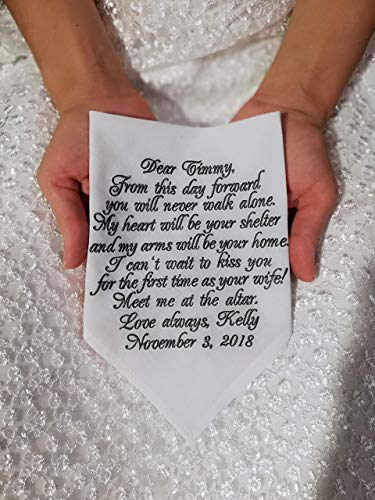 Wedding Gift for Groom from Bride Personalized Embroidered Handkerchief Wedding Future Husband Gift