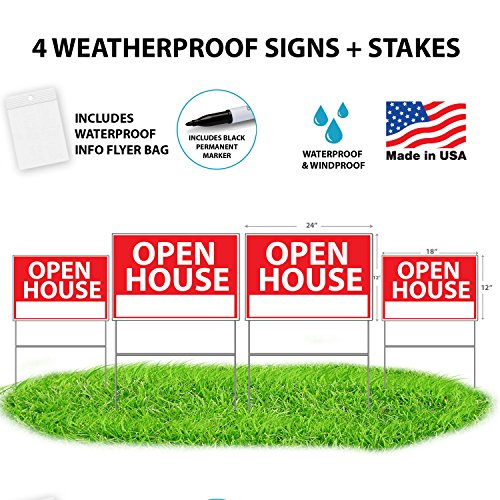 Open House Signs For Real Estate + Bonus Waterproof Flyer Bag + Permanent Marker - Premium Yard Sign Bundle - Reusable Double-Sided w/ Stakes - 4 Pack - NEW FOR 2018! TALLER YARD STAKES + FLYER BAG