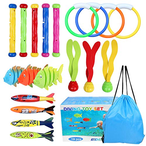 OWUDE Underwater Diving Pool Toys 19PCS Set Diving Rings Diving Toypedo Diving Sticks Aquatic Dive Balls Swimming Fish Swimming Pool Toys for Kids with Carrying Bag