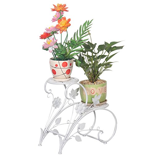 (DoubleWin 2-Tier Iron Plant Stand Flower Pot Rack Display Holder for Home Garden Patio & Decor)