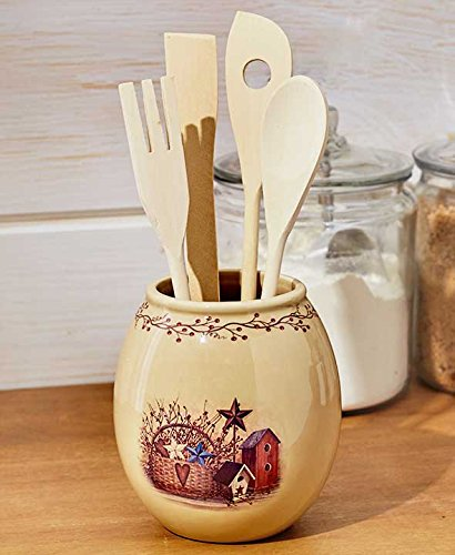 Country-Inspired Look Primitive Kitchen Collection Polyester Cold Cast Ceramic (Utensil Holder with Tools)