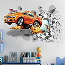 BoBin 3D Car PVC Wall Stickers Break Through the Wall Waterproof Removable Room Decals Murals Wall Poster (19.7'' X 27.5'', 03)