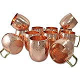 Dakshcraft Handmade Pure Copper Hammered Moscow Mule Mug,Set of 12