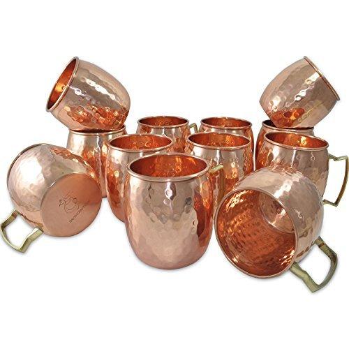 Dakshcraft Handmade Pure Copper Hammered Moscow Mule Mug,Set of 12