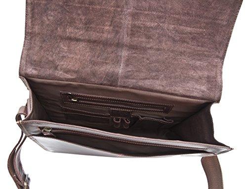 Di lusso da uomo in pelle marrone con patta borsa Messenger borsa business