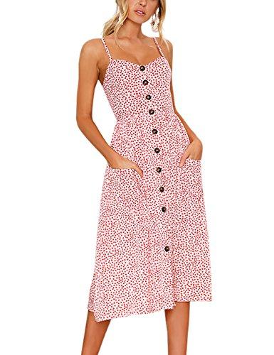Exlura Women's Dresses Summer Floral Sundress Swing Beach Dress with Pockets -