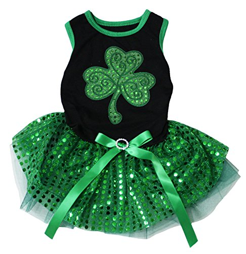 Puppy Clothes Dog Dress St Patrick's Day Clover Leaf Black Top Green Sequin Tutu (Medium) -