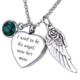 HOUSWEETY Cremation Jewellery Stainless Steel 'I used to be his angel, now he's mine' Urn Pendant Necklace - Memorial Ashes Keepsak