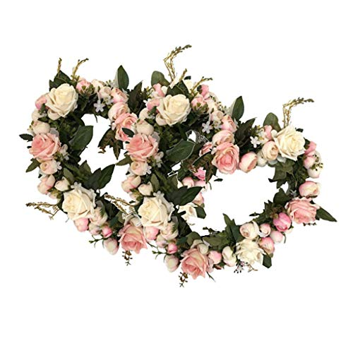 (Flameer Pair of Handmade Rose Floral Twig Wreath 13 Inch Artificial Heart Shaped Flowers Garland Front Door Wreath Wedding Party Decor (Rose))
