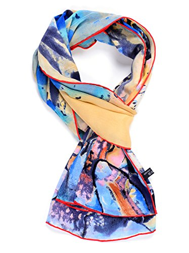 - Salutto Womens 100% Charmeuse Silk Scarf Van Gogh Paul Gauguin Monet Painted Scarves 05