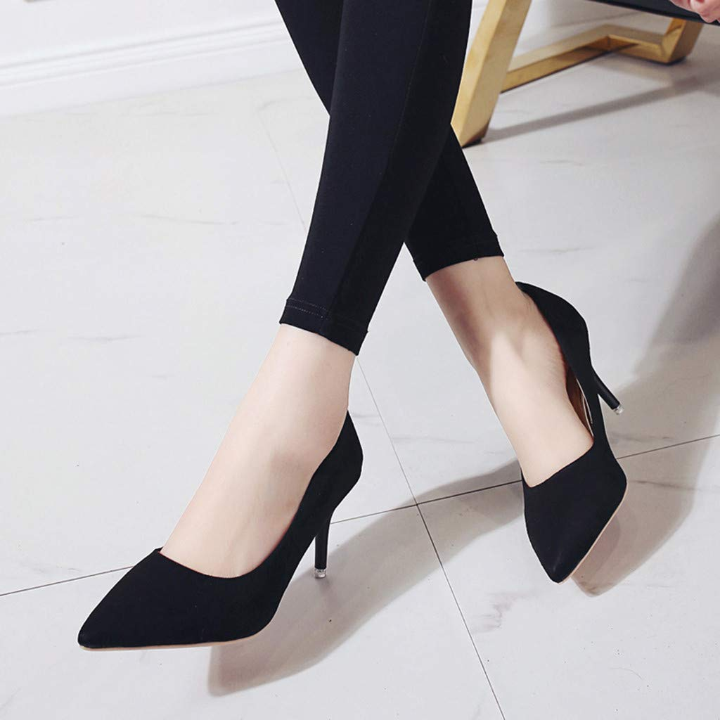 0d823e2af576d Amazon.com: Behkiuoda Women Point Toe Solid High Heels Office Work ...