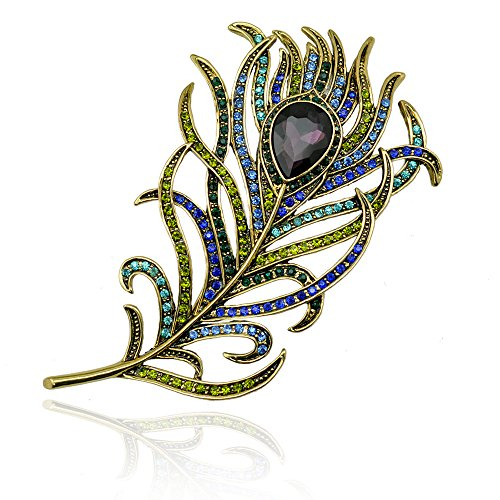Winter's Secret Crystal Peacock Feather Brooch Pin Vintage Diamond Accented Style Lady Fashion Corsage - Artcraft Frames