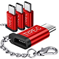 JSAUX USB Type C Adapter,4-Pack Aluminum USB C to Micro USB Convert Connector with Keychain Charger Compatible Samsung Galaxy S10 S9 S8 Plus Note 9 8,Pixel,LG V20 G5,Moto Z Z2,Nintendo Switch(Red)