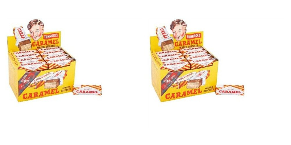 Tunnock's Caramel Wafer Biscuits Bundle of 96 (2 Cases) Expire Feb 2022 purchased at your own risk and cannot be refunded or replaced if melting occurs during transit.