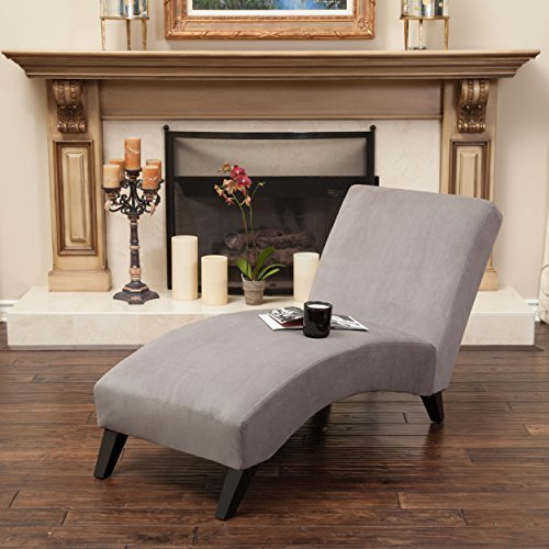 Great Deal Furniture Cleveland Grey Fabric Chaise Lounge Chair