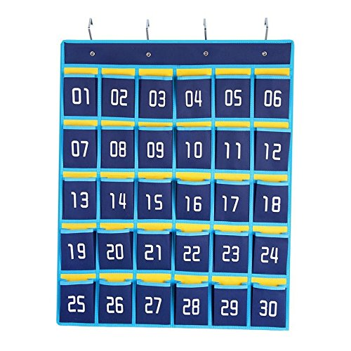 100 Hooks Numbered (Numbered Pocket Chart Classroom Cell Phones and Calculators Holder Wall Door Hanging Organizer (30 Pockets))