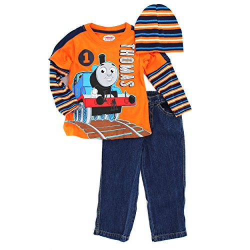 Thomas Train Toddler 3 pc Tee Jeans Beanie Set (2T) (Thomas Outfit Train)