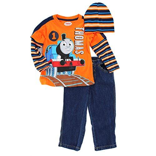 Thomas Train Toddler 3 pc Tee Jeans Beanie Set (2T) (Train Thomas Outfit)