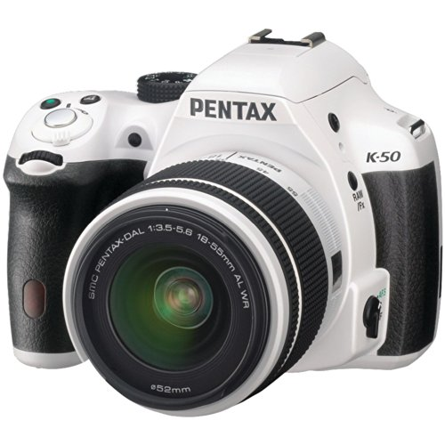 Pentax K-50 16MP Digital SLR Camera Kit with DA L 18-55mm WR f3.5-5.6 and 50-200mm WR Lenses (White) (Screen Pentax Focus)