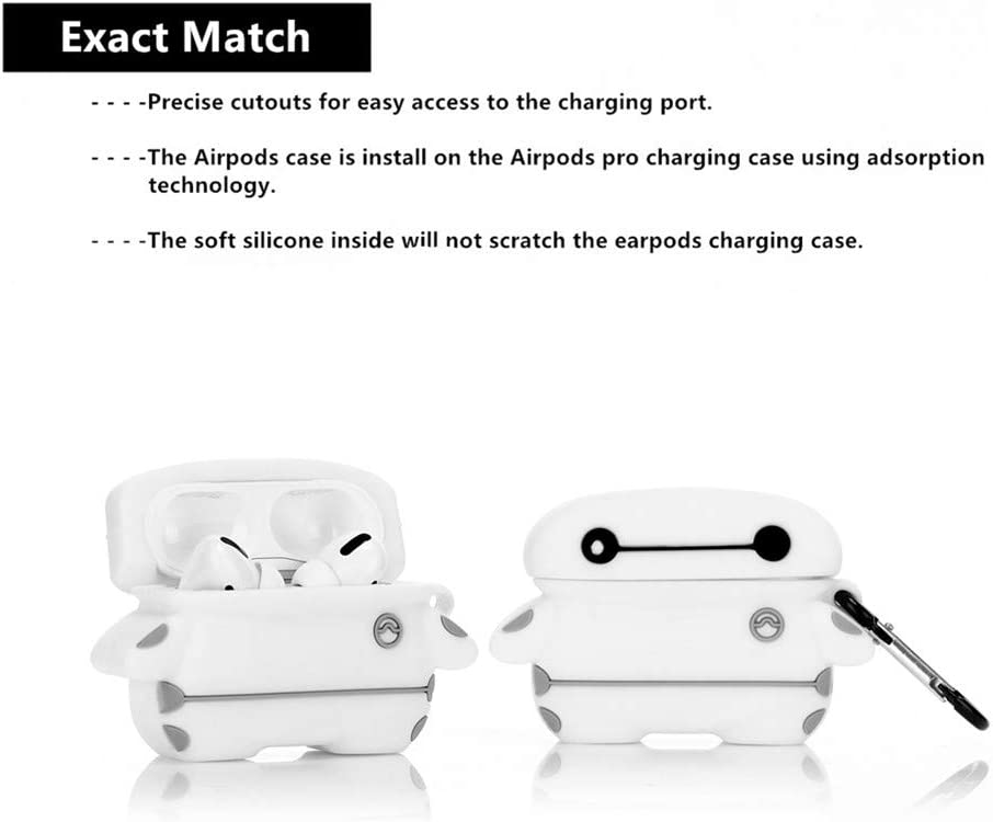 Designed for Kids Girl and Boys 3D Cartoon Pattern ZAHIUS Airpods Pro Silicone Case Funny Cover Compatible for Apple Airpods Pro Baymax