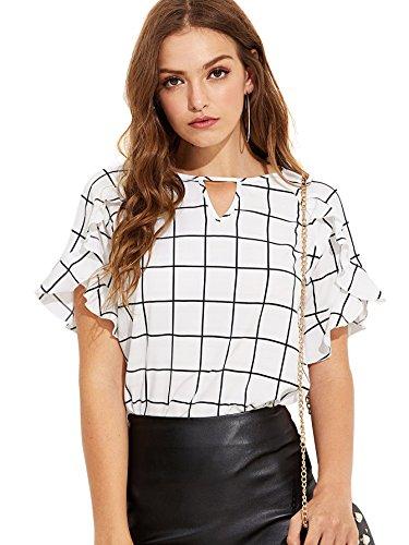 Romwe Women's Casual Ruffle Sleeve Keyhole Front Blouse Shirt Top White Large by Romwe