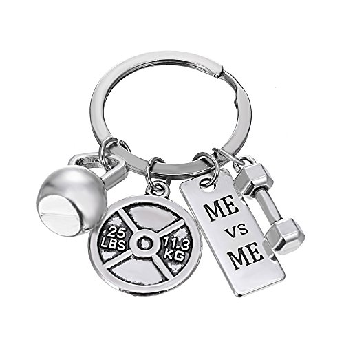 - iDMSON Unisex Stainless Steel Keyring Body Weight Lifting Fitness Gym Exercise Barbell Dumbbell Charm Keychain (ME vs ME)