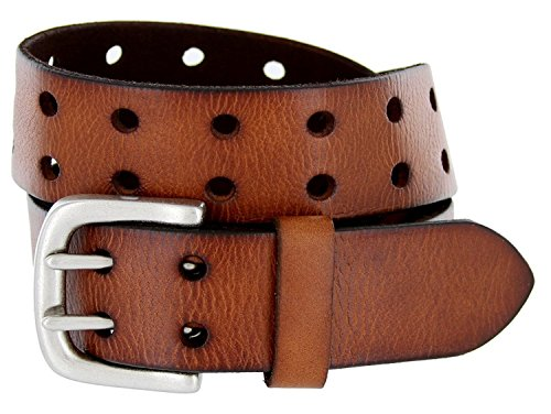 Drake Roller Buckle Full Grain Leather Two Holes Belts (36, Brown)