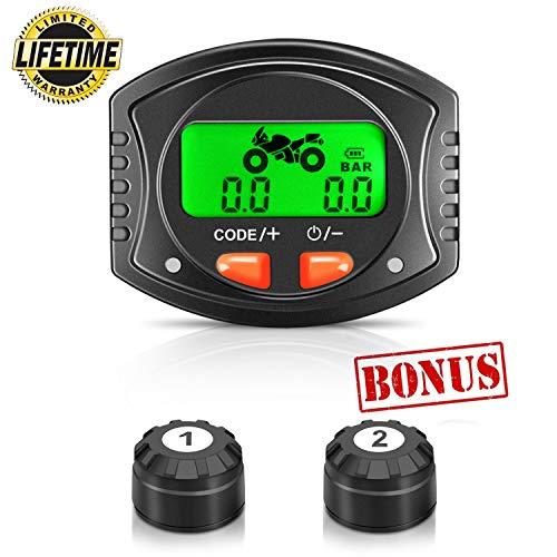 Tymate Motorc TPMS Wireless, Tire Pressure 2 DIY Sensors-Waterproof Digital LCD Display, Gauge Monitoring System for Motorcycle-5 Alarm Modes
