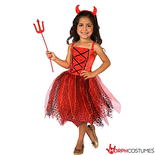 Devil Costumes Child (Girls Light Up Red Devil Satan Fancy Dress Costume - 10 - 12 Years)