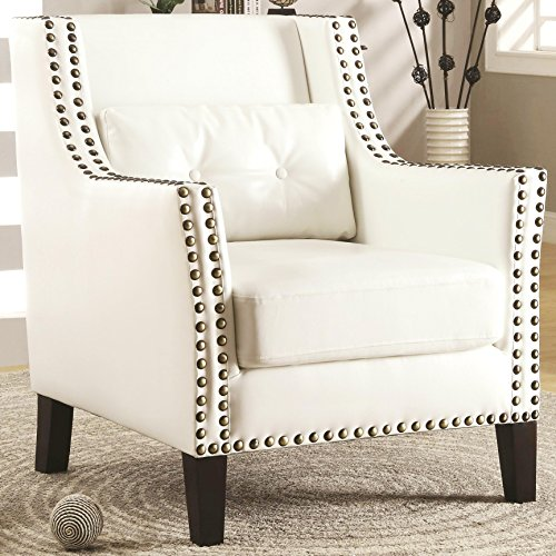 A Line Furniture Harvard Madrid Design Decorative Cream/White Wing Accent Chair with Nail Head Trim (Chair Madrid Accent)
