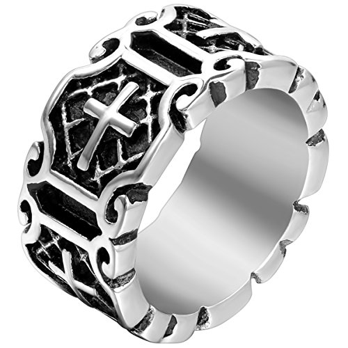 Flongo Men's Classic Stainless Steel Silver Black Celtic Knot Cross Band Ring, Size 10, Religious Men Women Prayer Cross Wedding Anniversary Band (Ring Classic Celtic Knot)
