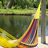 Mayan Cotton Hammock in Quality Diamond Like Threading for Summer Outdoor Living Patio Furniture - XL, Multicolored