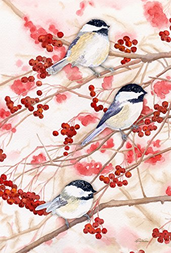 Toland Home Garden Chickadees and Berries 12.5 x 18 Inch Decorative Spring Bird Tree Branch Garden Flag