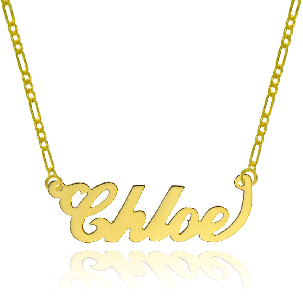 14K Yellow Gold Personalized Name Necklace - Style 1 (16 Inches, Light Figaro Chain) by Pyramid Jewelry