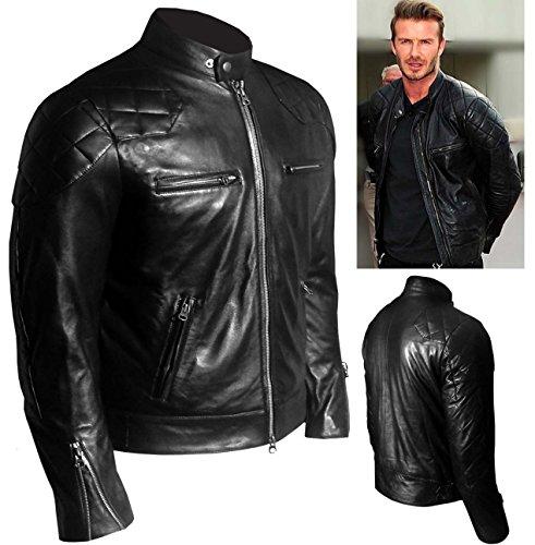 Ispirata Fit Slim Stile Vera David Nera Pelle In Beckham Black Vintage A Giacca 1qA8Sw