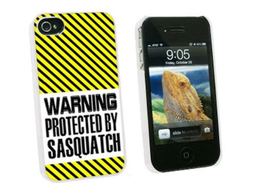 Graphics and More Warning Protected By Sasquatch - Snap On Hard Protective Case for Apple iPhone 4 4S - White - Carrying Case - Non-Retail Packaging - White