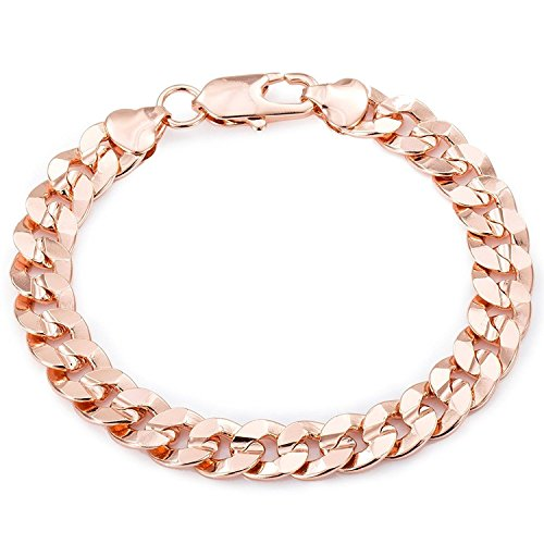 Trendsmax Boys Mens Chain Round Cut Curb Cuban Link Rose Gold Plated Bracelet 9mm 8inch ()