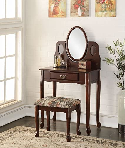 Major-Q Casual Traditional Style Espresso Finish Tilt Oval Mirror Vanity with Storage Drawer and Padded Seat Ottoman