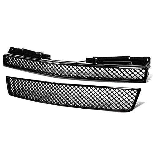 For Chevy Tahoe/Avalanche/Suburban ABS Plastic Glossy 2-Piece Diamond Mesh Front Bumper Grille (Black) ()