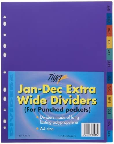 Tiger MONTHLY JAN-DEC STRONG FILING SUBJECT DIVIDERS Tabbed Ringbinder Folder Indexing Sheets
