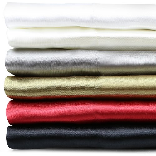 Silky Soft Satin Sheet Set - Fits Mattresses Up To 18 Inches - Queen - Black