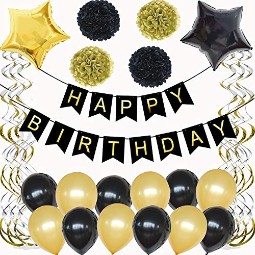 Tylang Black and Gold Birthday Decorations Happy Birthday Bunting Banner Party Supplies Favors Balloons Tissue Paper Pom Poms for Men Women 18th 20th 30th 40th 50th 60th 70th Decor Gold