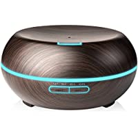 Onugi 200ml Wood Grain Essential Aroma Humidifier Oil Diffuser Humidifier Aromatherapy Ultrasonic Cool Mist Humidifier Air Purifier with 7 Color Changing LED Lights for Home/Office - Black