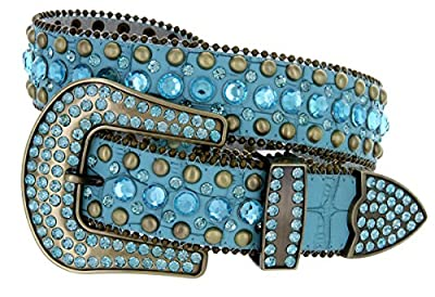 "Women's Western Cowgirl Rhinestone Studded Leather Belt 1-1/2"" Wide"