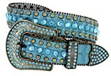 Women's Western Cowgirl Rhinestone Studded Leather Belt 1-1/2'' Wide (Large, Blue)