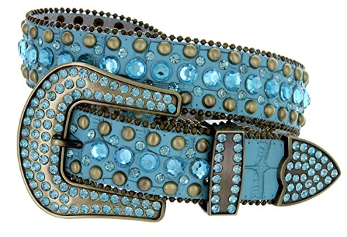 Set Turquoise Buckle Belt - Women's Western Cowgirl Rhinestone Studded Leather Belt 1-1/2