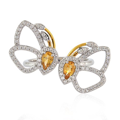 Mettlle Natural Yellow Citrine & White Topaz Butterfly Ring Sterling Silver 925, Size 7