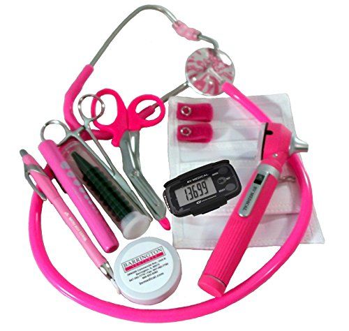 (Breast Cancer Awareness Nurse Kit with W/ Mini Otoscope, Hot Pink Stethoscope)
